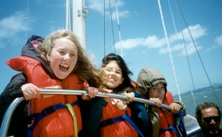 Smiling young sailors
